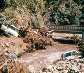 Photo: Vehicles were left stranded in the aftermath of the 1976 Big Thompson flood. Courtesy of Water Resources Archive